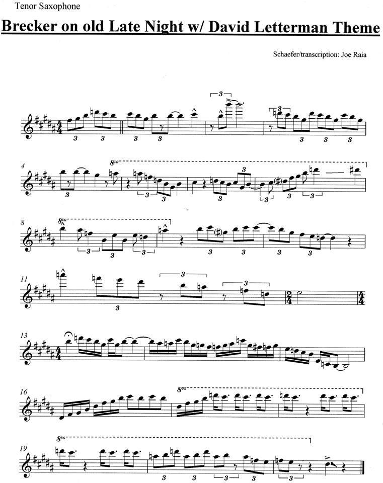 Michael Brecker Sax Solo Transcription on David Letterman Intro
